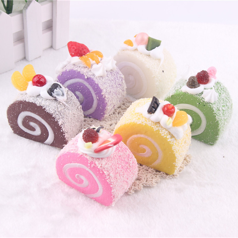 5CM Simulation Colorful Mini Swiss Roll Cake Stress Relief Toy Squishy Slow Rising Soft  ...