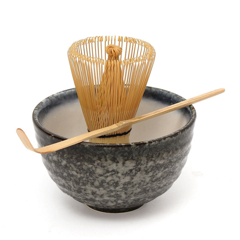 Hot Sale 3pcs sets Bamboo Matcha Tea Ceremony Gift Set with Ceramic Tea Bowl Scoop Powder