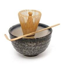 Heißer Verkauf 3 stücke sets Bambus Matcha Teezeremonie Geschenk Set mit Keramik Tee Schüssel Scoop Pulver Schneebesen Chasen Japanischen Teegeschirr präsentieren