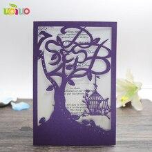 Purple Birdcage Logo 10pcs Sle Laser Cut Wedding Invitation Cards Customizalbe Envelopes Inner Card Party Supplies