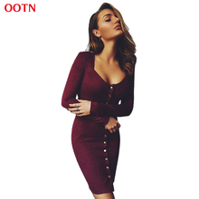 OOTN LYQ052 Sheath Brief Suede Dresses Solid Blue Burgundy Red Long Sleeve Mini Dress Spring Winter 2017 New Fashion Vestido