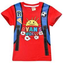лучшая цена 2019 Ryan`s World Children T-shirts Top O-neck 100% Cotton Boys Girls Kids tshirt Cartoon Teen Summer Clothing Baby T-shirt