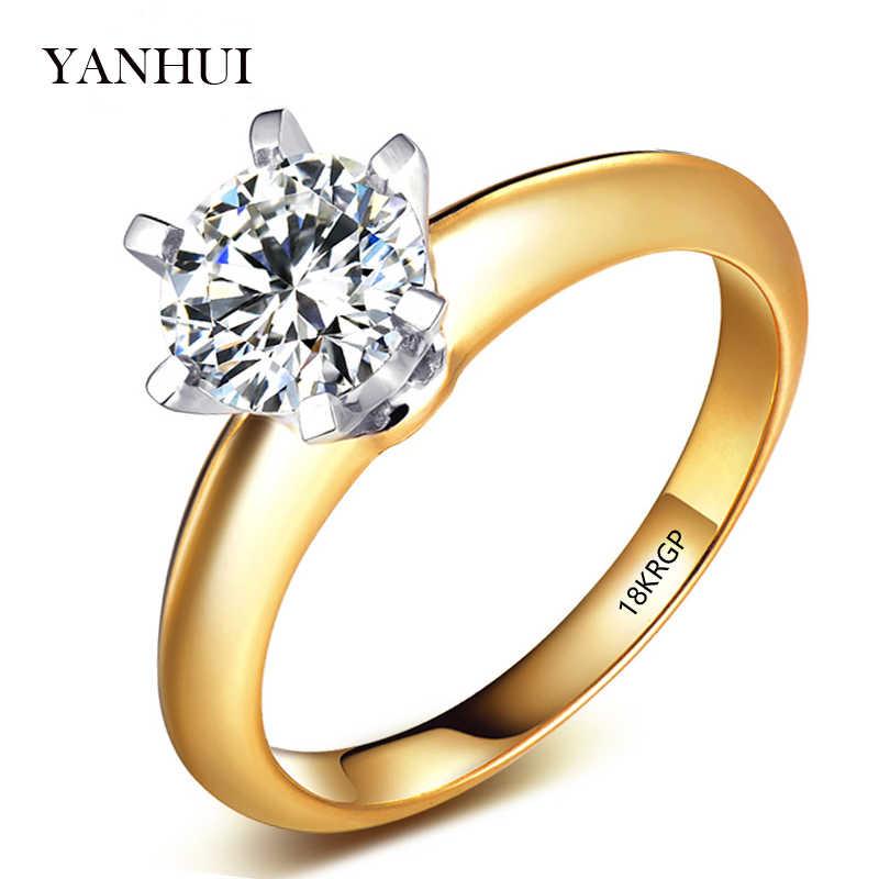 彫18 18krgpスタンプオリジナルゴールドリング8ミリメートル2ct czジルコンの婚約指輪ホワイト/イエローゴールドカラーウェディングリング用女性sr168