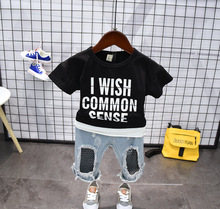 Fashion O-Neck Black Letter T-Shirt Hold Jeans Pants Shorts Summer Baby Boys Girls Clothes Set Toddler Kids Korean Clothing