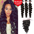 "7A Brazilian Loose Wave 5x5"" Lace Closure With Bundles 4PCS/Lot Brazilian Virgin Hair With Closure Loose Wave Human Hair Weaves"