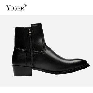 Image 3 - YIGER nowy 2018 Man Martins buty prawdziwej skóry czarne męskie buty Pointed Toe buty motocyklowe ciepłe buty 0152