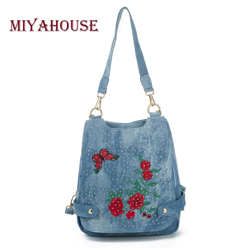 Miyahouse Casual Denim Design School Backpack Women High Quality Jeans Backpack Lady Floral Embroidery Shoulder Bag Female guitar rolling capo greg bennett design glider capo slides up