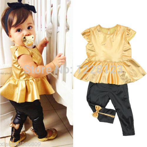 ba1696ba61e03 2017 New Fashion Baby Girls Childs Kids Gold Dress Tops + Legging Pants  Sets Outfits Suit 2PCS