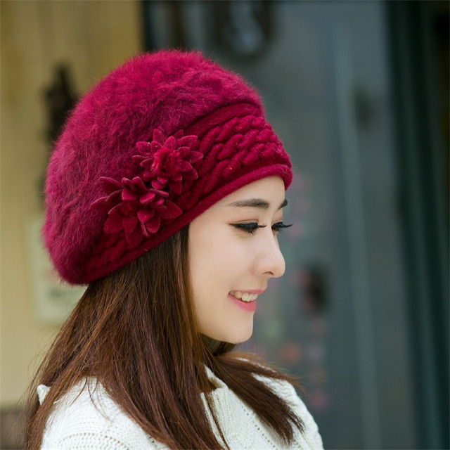 Women Hats Warm Cute Princess Rabbit Fur Hat Female Winter Knitted Beret Hat  With Flower Women s 9501926a448