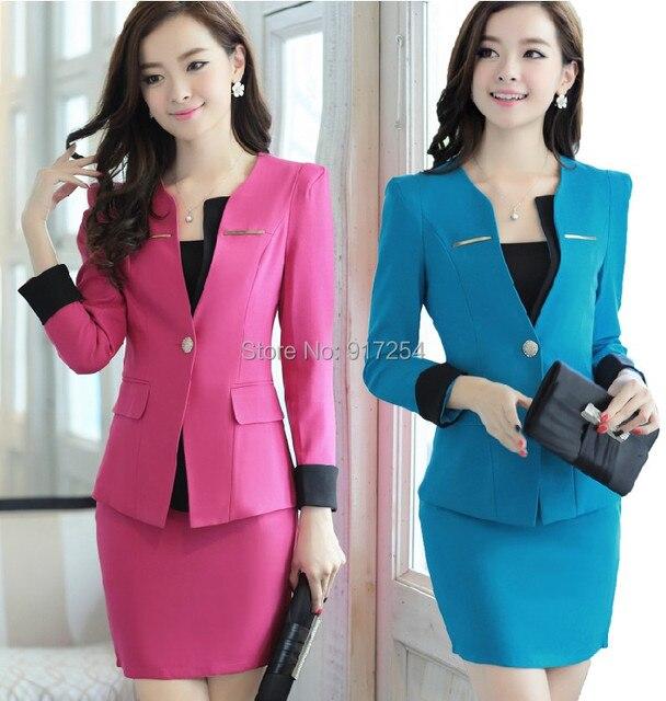 2015 nova Plus Size 4XL primavera outono das mulheres ternos com saia do uniforme conjuntos para mulheres de negócio trabalho Formal Wear Plus Size XXXXL