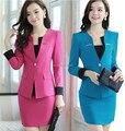 2015 nuevo tamaño más 4XL mujeres del otoño del resorte de trajes formales con falda conjuntos uniformes para Business Women Work Wear Plus tamaño XXXXL