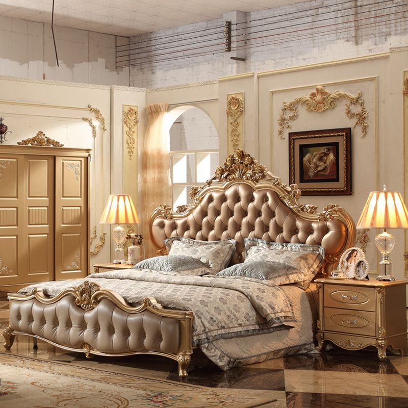 Where To Buy Luxurious Gold Bedroom Furniture Leather Bed Set