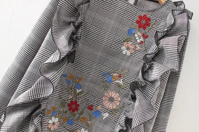 Lundunshijia Bordada Loto Color Primavera Moda Photo Camisa Tops Hoja Nuevo Escocesa Flores Decorativa Blusa De 2018 Y rPw0xaEr