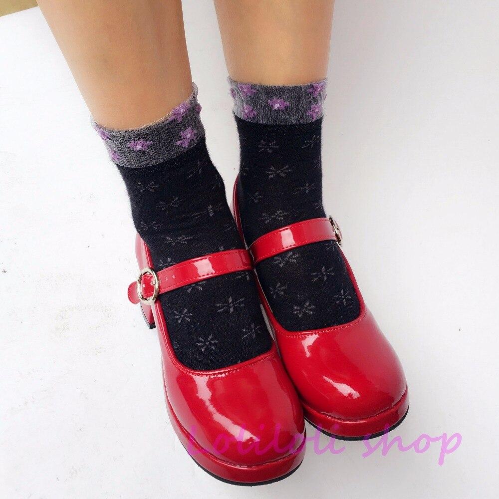 Princesse douce lolita chaussures design japonais personnalisé spécial en forme de miroir rouge cravate chunky chaussures à talons 9142aa