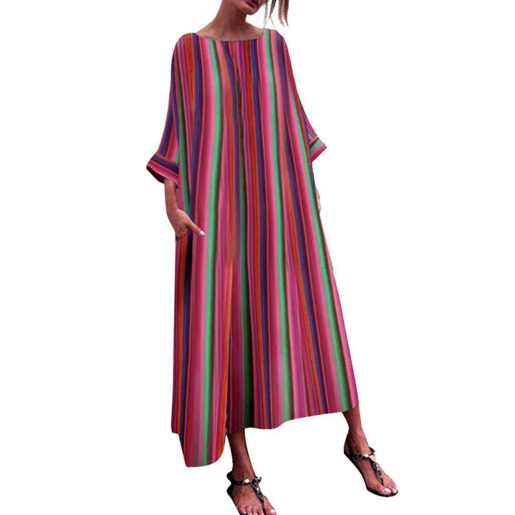 CHAMSGEND Women Striped Multicolor Loose Bohe Beach Long Robe Dress o-neck Plus Size Three Quarter Sleeve Dress