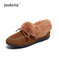 Jookrrix Flats Casual Warm Shoes Women Fashion Brand Pu Leather Moccasin S hoes Lady chaussure Autumn Female footware with Fur