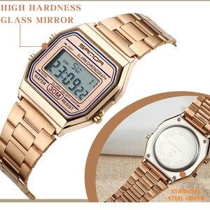 Image 5 - SANDA montre de sport pour hommes, en or et argent, numérique, Bracelet en acier inoxydable, étanche, collection LED