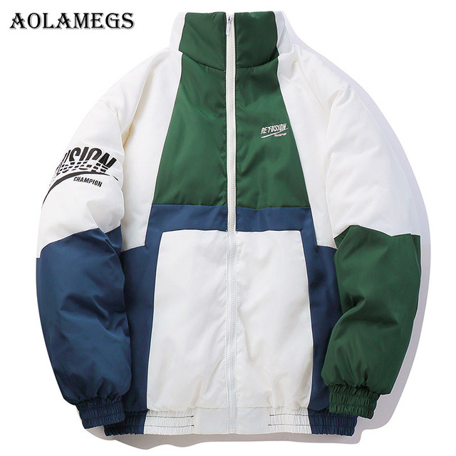 Best Price Aolamegs Down Jacket Block Striped Patchwork Thick Mens Winter Jackets Mens Stand Collar Windproof Coat Mens Winter Streetwear