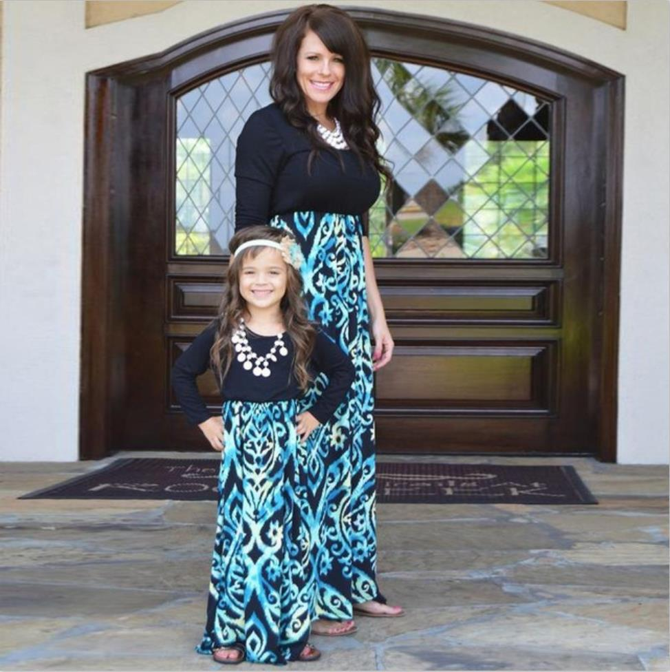 5e906548321e mother daughter dresses family look black blue long sleeve patchwork mommy  and me costume matching outfits evening dress
