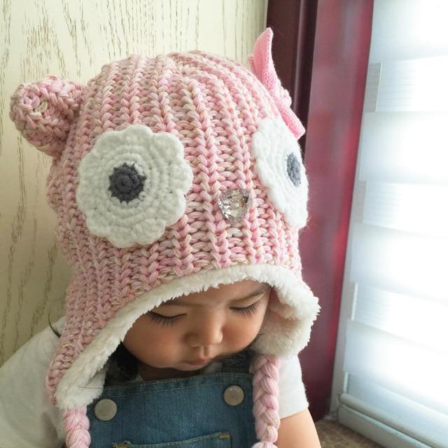 Sombreros del bebé de Invierno de Dibujos Animados Búho Rosado Del Bebé  Gorros de Lana de 082a550daa8