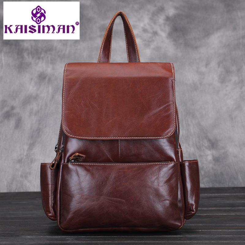 100% Cow Genuine Leather Women Backpacks High Quality Classics Ladies Backpack Teenage Girls Famous Brand Travel Female Bag Pack kajie famous brand designer backpack for women 2018 retro genuine leather female back pack oil wax cow leather ladies travel bag