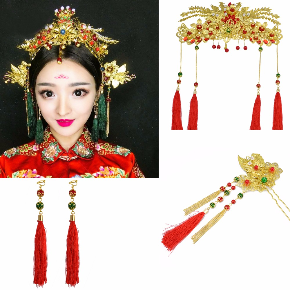 Chinese Traditional Bridal Headdress Tassels Hairpins Red ...