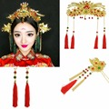 Chinese Traditional Bridal Headdress Tassels Hairpins Red Beads Flowers Fashion Headband Earrings For Women Wedding Set Jewelry