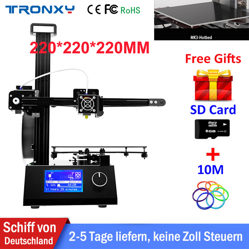 Tronxy Cheap 3D Printer Printing Size 220*220*220mm Reprap i3 Aluminium +Hotbed Metal 3D Printer DIY Kit 10m Filament 8G SD Card tronxy 3d printer all metal upgrade frame 3 3 lcd screen dual z axis extruder 3d printer diy kit 10m filament 8g sd card gift