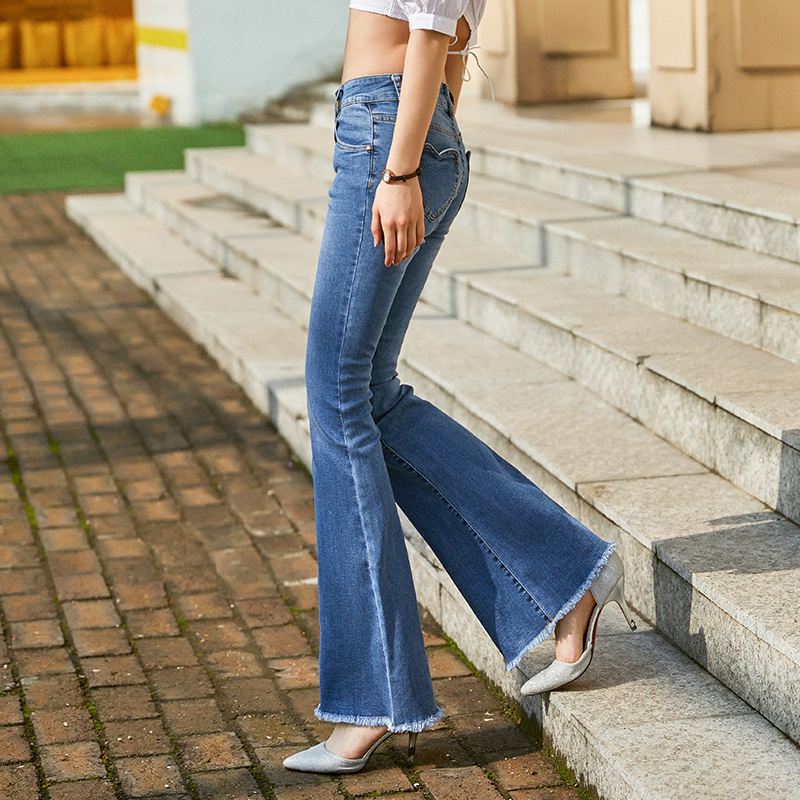Free Shipping 2019 New Fashion Long Jeans Pants For Women Boot Cut Trousers 25-30 Denim Summer Stretch Jeans High Qual