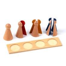 Bebé de Juguete Montessori Familia Versión Pequeña Fracción Bolos con Bandeja 8.6 cm Madera Preescolar Temprana Niños Brinquedos juguetes