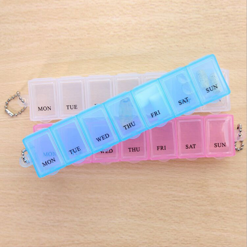 Portable rectangle a week 7 Slots seal transparent Pill Cases Jewelry candy box Vitamin Medicine Pill Box Storage Case Container
