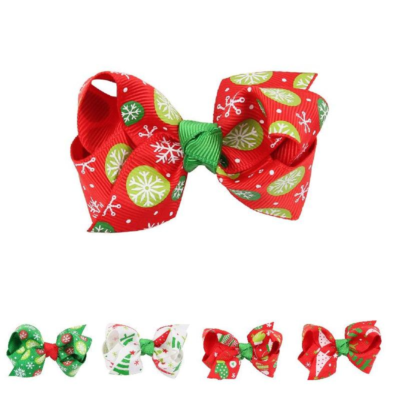 Christmas Girls Bowknot Hair Clips Hairpins Ribbon Barrettes Xmas Hairs Accessories Gifts For Kids Childrens CX17