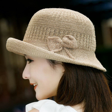 2019 new Bow Sun Hats For Girls Solid Color Straw Hat Women's Wide Brim Summer Panama Style Linen Beach Cap Chapeu Feminino