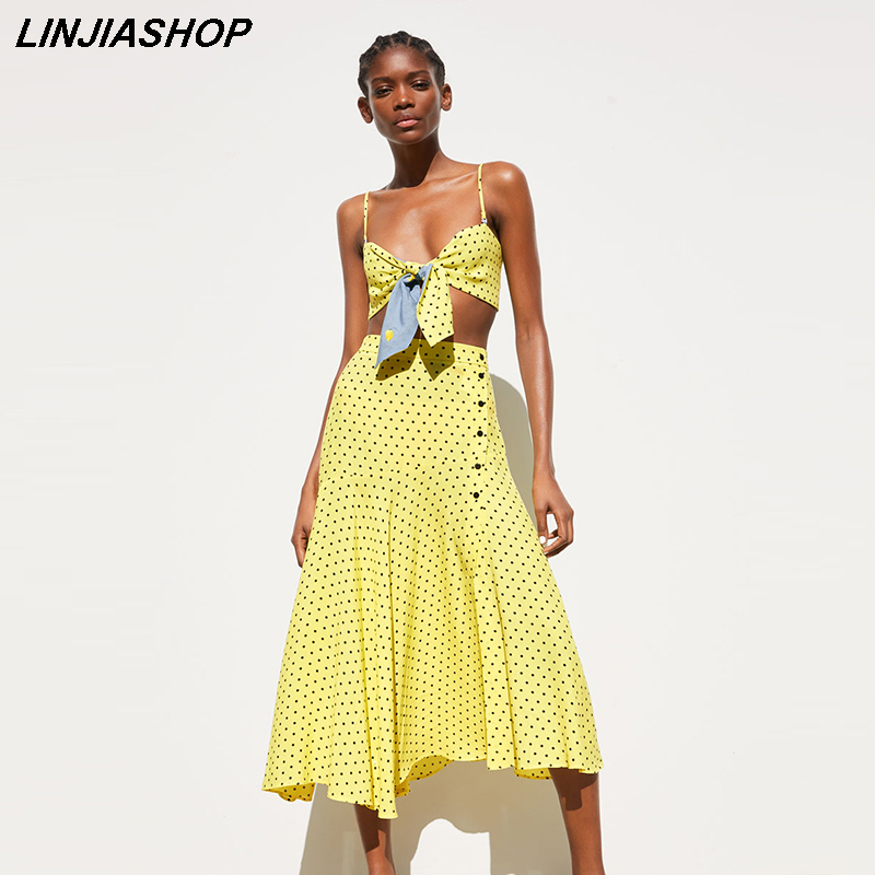 Casual Summer Two Piece Set Yellow Chiffon Cotton Crop Top Strapless Button Fly Mid- Calf Tulle Skirt Suit Set Women Vestidos