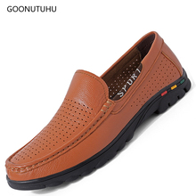 Fashion mens shoes genuine leather loafers man platform breathable shoe black and brown summer youth men casual hot sale