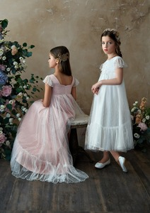 Image 4 - Flower Girl Dresses Lace 3D Flower Appliques Cap Sleeves Girls A line Gowns Birthday Party Toddler 2 11Y