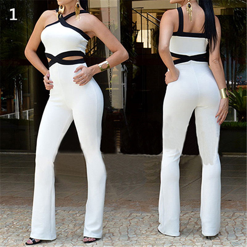 Womens Fashion Summer Sexy Sleeveless Hollow Backless Strap Jumpsuit Black White Solid Co