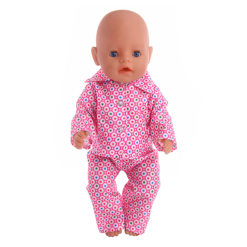 Luckdoll Handmade pajamas fit 43cm Baby Born zapf doll American doll , Children best Birthday Gift (Only clothes)