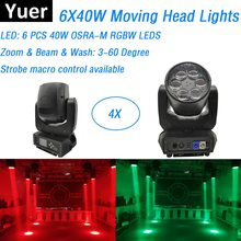 4Pcs Beam Zoom Wash 3IN1 LED Stage Lights 6X40W RGBW 4IN1 LED Moving Head Lights IP20 Perfect For DJ Party Christmas Decorations(China)