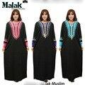 Novo abaya preto Muçulmano vestuário Islâmico para as mulheres bordado tradicional muçulmano vestido roupas mulheres turcas