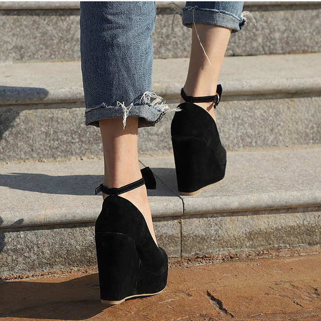 Closed Toe Wedges with Ankle Strap