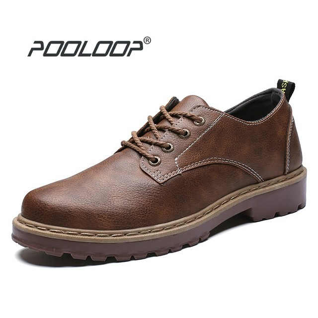 POOLOOP Men Casual Shoes Fashion Leather Shoes for Men Men's Oxford Dress Shoes Business High Quality Soft Casual work shoe