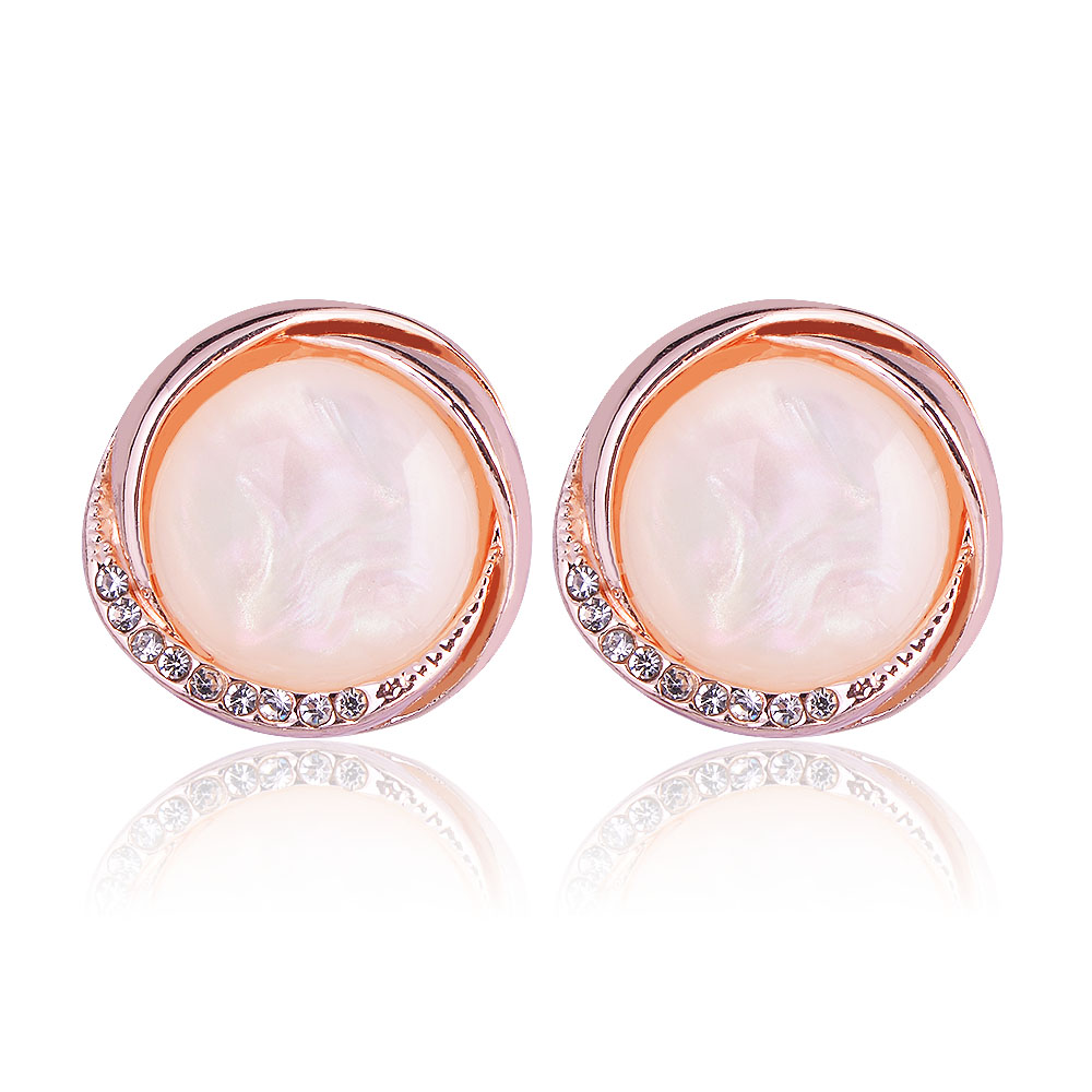 Fashion Stud Earrings Jewelry Rose Gold Color Austrian Crystal Opal Earrings For Women Wedding Jewelry boucle doreille