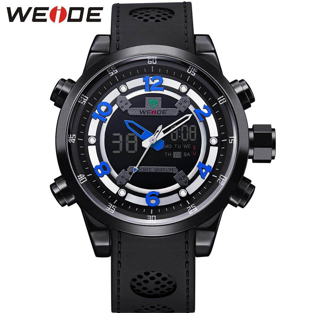 ФОТО WEIDE Brand Relogio Masculino Sports Watch 3ATM Waterproof  Stopwatch Soft PU Strap Alarm Clock Men's Military Quartz Watches