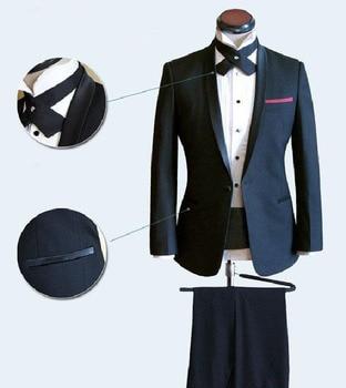 Custom Made To Measure Navy Blue Men Wedding Suits For Men Narrow Shawl Lapel,Bespoke Tailor Groom Suit Slim Fit Tuxedos For Men