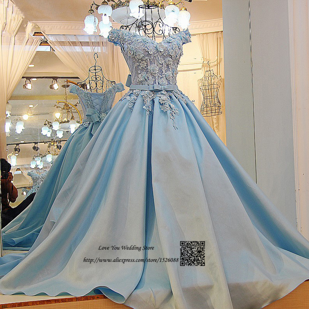 Blue Wedding Gowns 2014: Princesss Wedding Dresses Ball Gown Light Blue Bride Dress