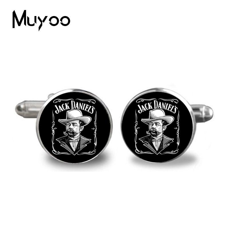 2017 New No 7 Jack Daniels Cufflink Tennesse Minimalistic Cufflinks Silver Cuff link Gifts Men Handmade Shirt Accessory C-0029
