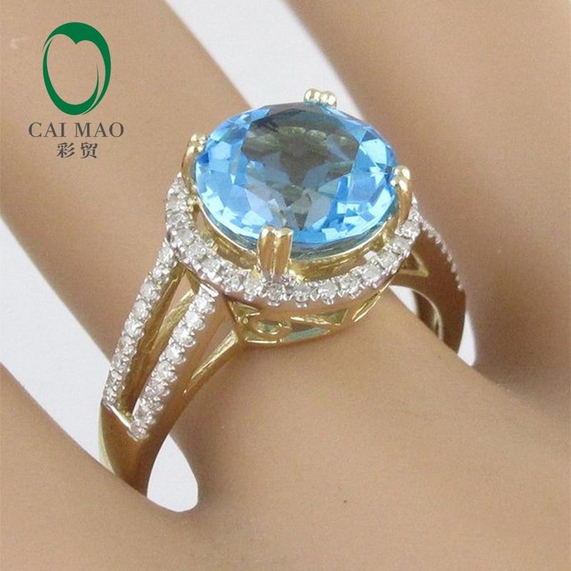 4.60ct! 14ct жёлтое золото голубой топаз и алмазное кольцо настройки, 14 K кольцо