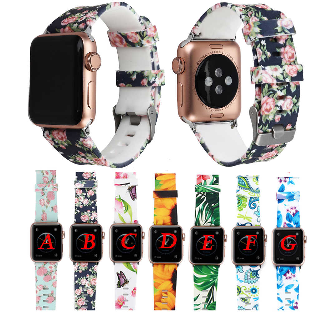 Floral Flower Bands For Apple watch Series 5 4 3 2 1 40mm 44mm Silicone Pattern Printed Strap for iWatch Series 4 3 2 38mm 42mm