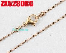 Rosa colore dorato 1.2mm della sfera della catena con il catenaccio in acciaio inox collana perline catene dei monili di modo 20 pz ZX528DRG